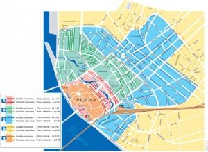 Расположение зон автостоянок на карте